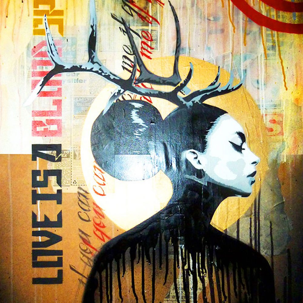 Art By Mishfit -Yellow & Red, Figurative, Painting, of a beautiful woman with Antlers