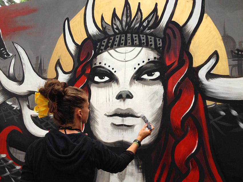 Mishfit Mural painting at Latitude Festival