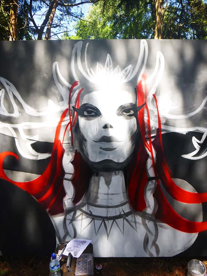 Mishfit Mural Painting Latitude Festival, progress shot