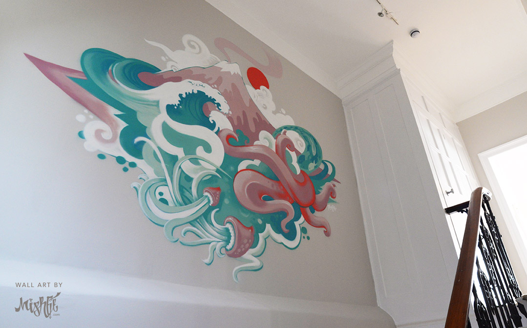 Art By Mishfit - Japanese inspired Graffiti Mural, The Great Wave, Octopus, Tentacle, Mount Fuji, Ocean. Interior Design