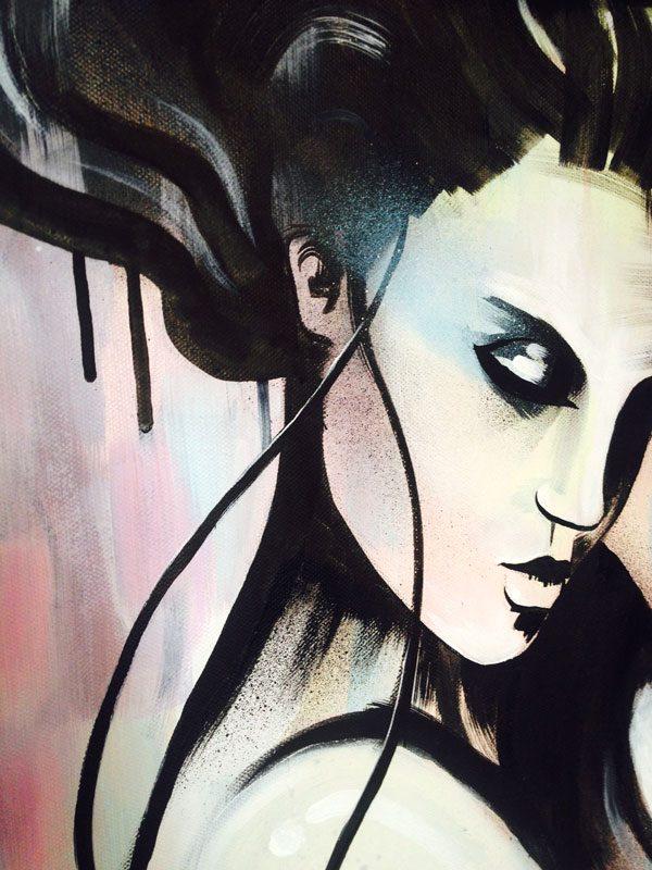 Art By Mishfit - Pastel Pink, Yellow & Blue, Figurative, Painting, of a beautiful woman, Geisha