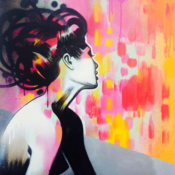 Art By Mishfit - Neon Geisha - Pink Red & Yellow, Figurative, Painting, of a beautiful woman, Geisha