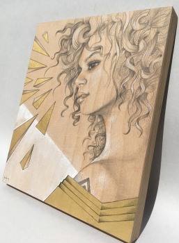 lady magic 1 drawing on wood art panel mishfit